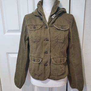 Levi's distressed  jacket with hoodie size Large